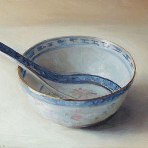 Chinese kom, olieverf op paneel, 14 x 18 cm, Serge de Vries