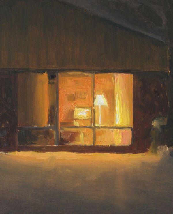 Detail Huis in de nacht nr5, olieveref op paneel, 19 x 15 cm, Serge de Vries