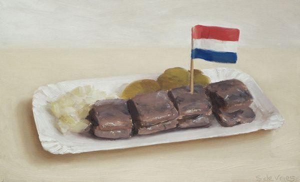 Haring met uitjes en augurk, 12 x 20 cm, Serge de Vries