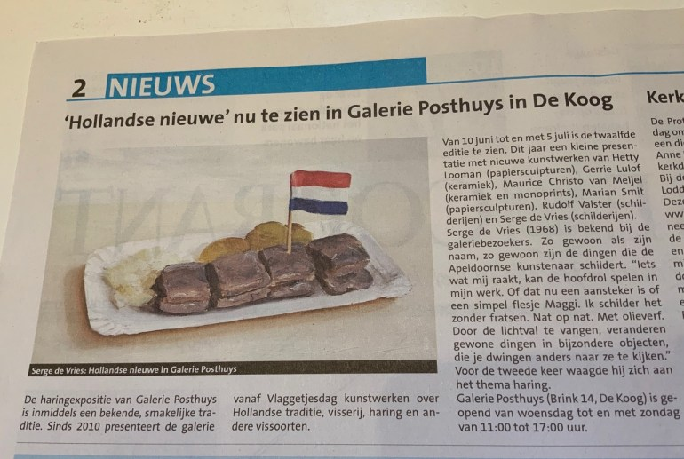 Hollandse nieuwe artikel in Texelse courant