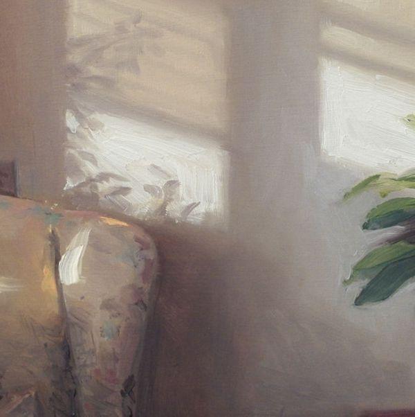 Detail Stoel en zonlicht, olieverf op paneel, 16 x 16 cm, Serge de Vries