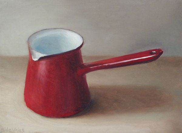 Rood melkkannetje, olieverf op paneel, 14 x 19 cm, Serge de Vries