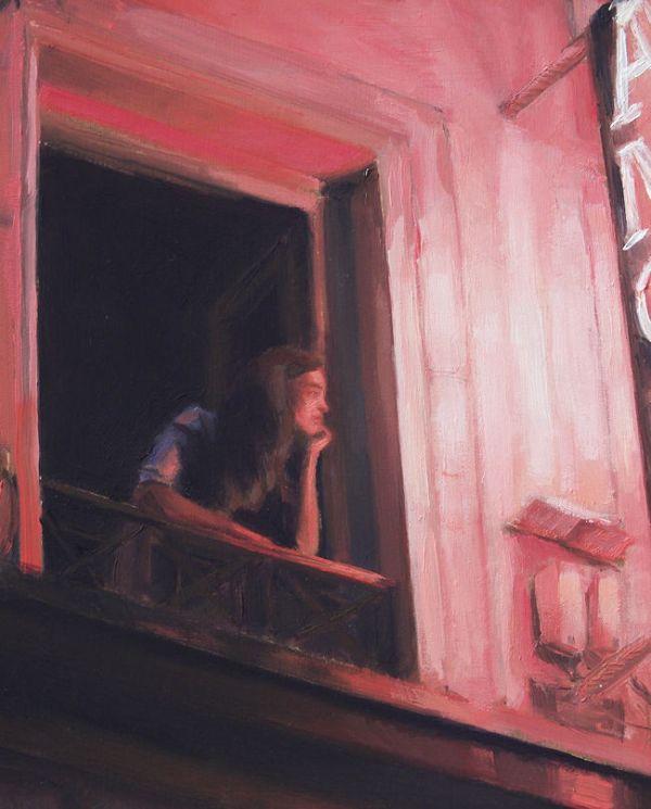 Detail Vrouw op balkon, olieverf op paneel, 20 x 16 cm, Serge de Vries