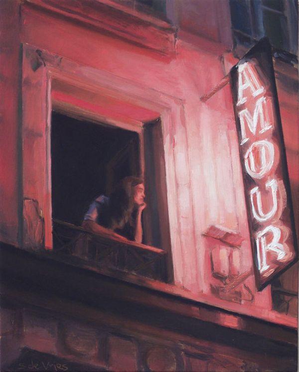 Vrouw op balkon, olieverf op paneel, 20 x 16 cm, Serge de Vries