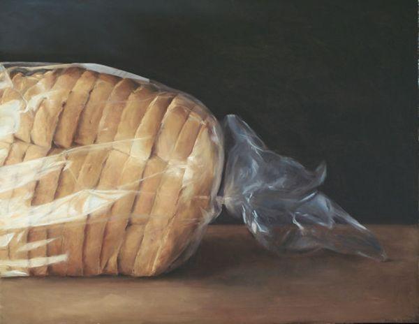 Brood in plastic. olieverf op linnen, 70 x 90 cm, Serge de Vries