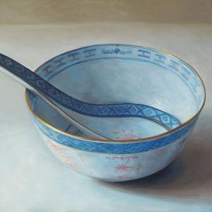 Chinese kom XL, olieverf op linnen, 70 x 90 cm, Serge de Vries