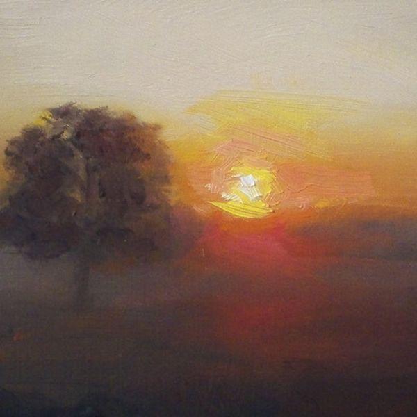 Detail Ondergaande zon, olieverf op paneel, 16,5 x 16,5 cm, Serge de Vries