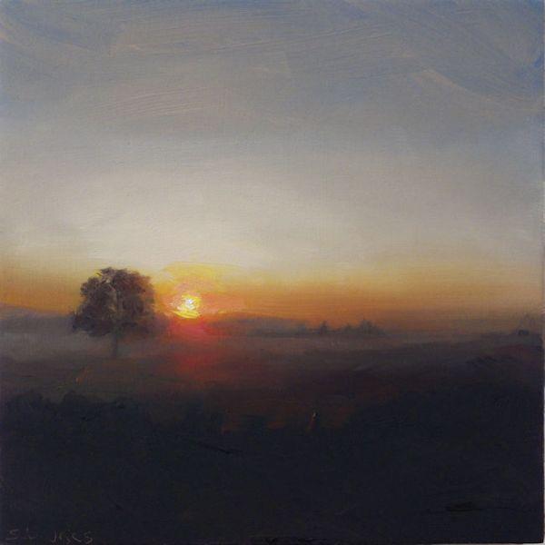 Ondergaande zon, olieverf op paneel, 16,5 x 16,5 cm, Serge de Vries