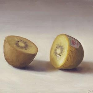 Kiwi gold, olieverf op paneel, 12,5 x 17 cm, Serge de Vries