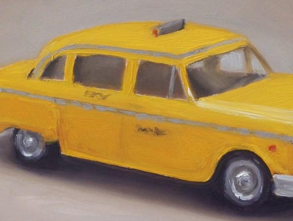 Detail Dinky toy nr12, taxi, olieverf op paneel, 13 x 17 cm, Serge de Vries