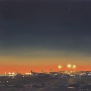 Vliegveld nr2, olieverf op paneel, 17,5 x 18,5 cm, Serge de Vries
