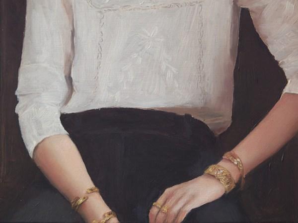 Detail 2 Vrouw op een bank, olieverf op paneel, 20 x 20 cm, Serge de Vries