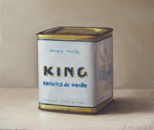 King pepermunt blik, olieverf op paneel, 13 x 15,5 cm, Serge de Vries