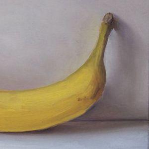 Banaan uitsnede, olieverf op paneel, 12,5 x 20 cm, Serge de vries
