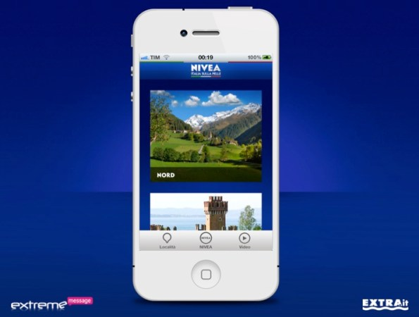 App Nivea Tour iPhone menu