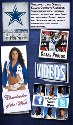 Dallas Cowboys Facebook Welcome Page