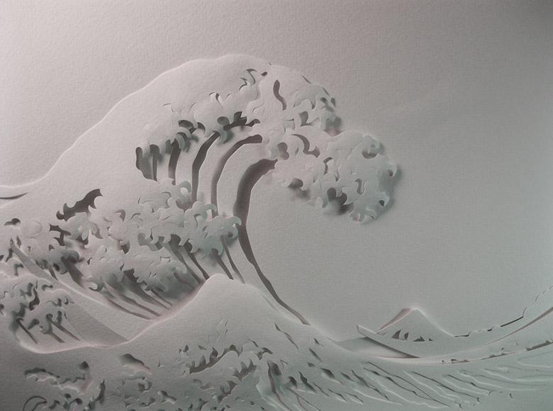La grande onda (in carta) di Kanagawa