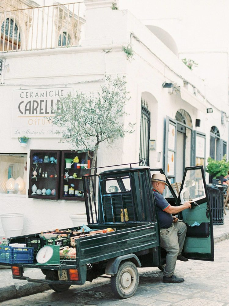 Fruits and vegetables seller with Ape Piaggio in Ostuni