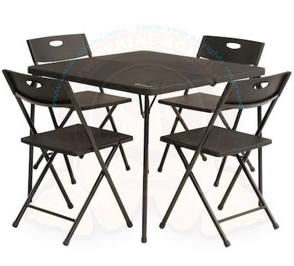 table pliante valise de pique nique avec 4 chaises corda acier et plastique moule renforce 86x86cm hauteur 71cm outwell