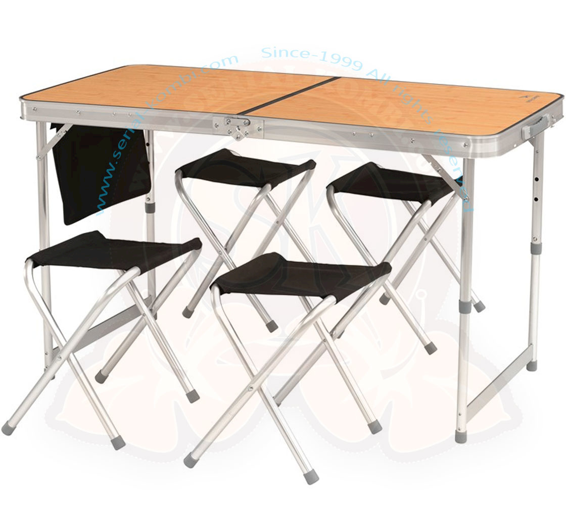 table pliante valise de pique nique avec 4 tabourets belfort plateau bamboo en stratifie 120x60cm hauteur reglable 70 60 55cm