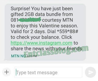 How To Get Free MTN Valentines 2GB Data And N1000 Airtime