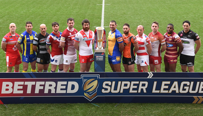 A player from all 12 Super League teams lines up at the 2017 launch.