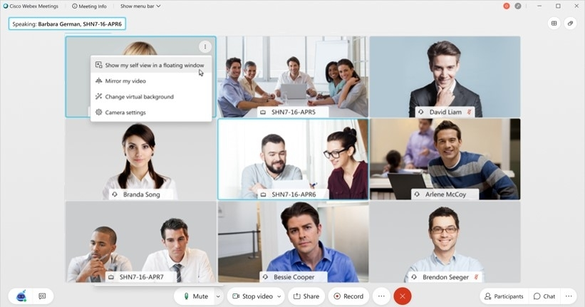 Cisco Webex Return to Office screen