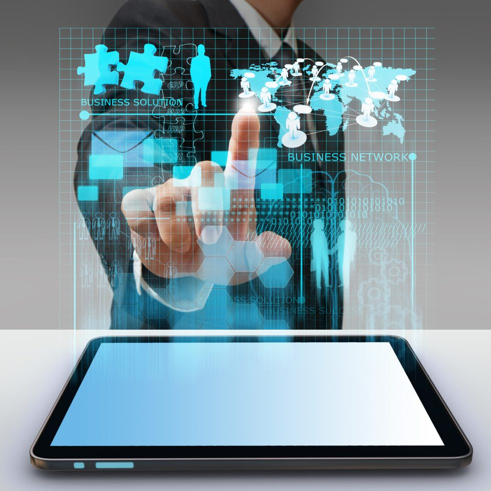 Privacy and Collaboration abstract data touch UI with tablet