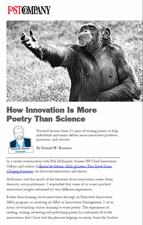 How Innovation Is More Poetry Than Science now up at Fast Company