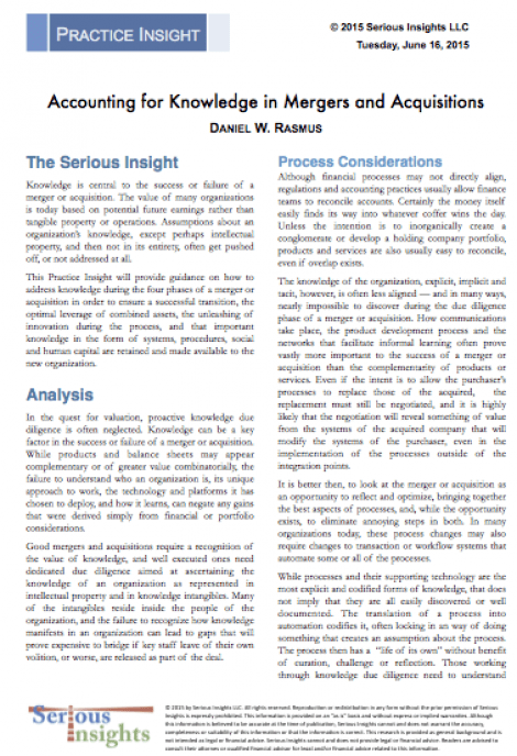 New Research Report: Accounting for Knowledge in Mergers and Acquisitions
