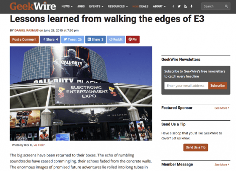 'Lessons learned from walking the edges of E3' up at GeekWire