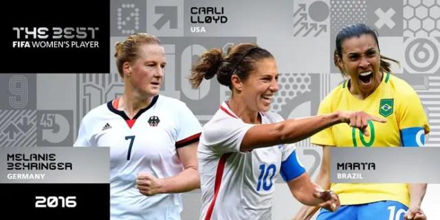 Marta disputao prêmio de melhor do mundo com a alemã Behringer e a norte-americana Lloyd (Foto: Reprodução / Twitter)