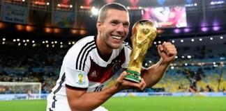 Lukas Podolski foi campeão do mundo com a seleção alemã em 2014