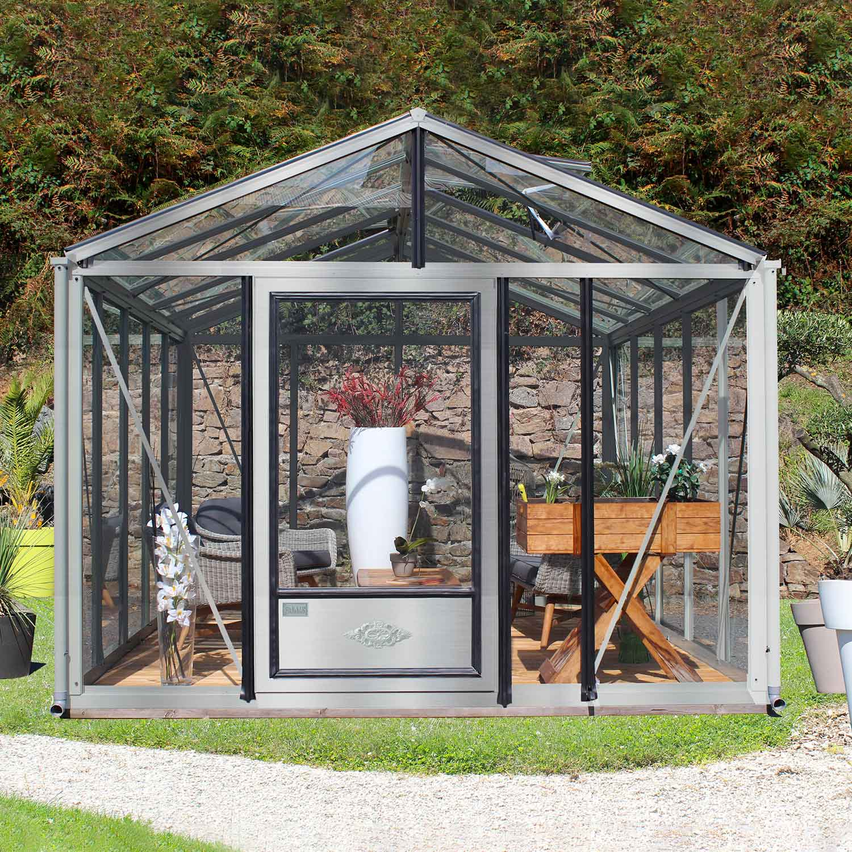 serre de jardin en verre trempe supra 12 m aluminium naturel 3720 00 livraison comprise