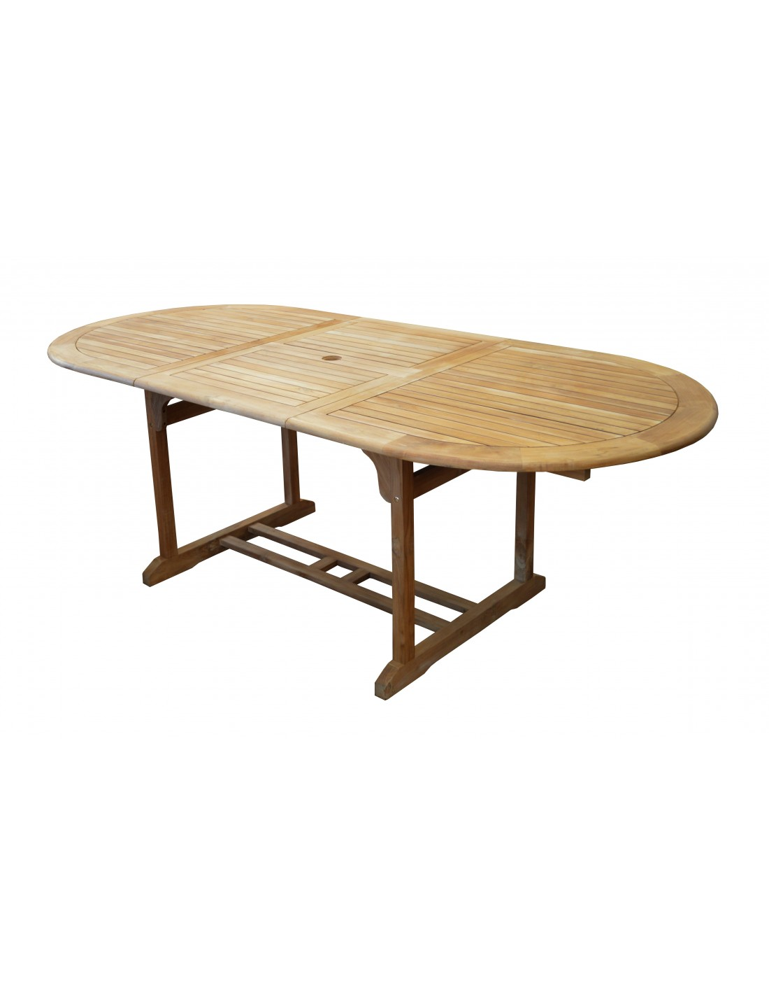table de jardin hampton en teck allonges 160 220 x 100 cm proloisirs