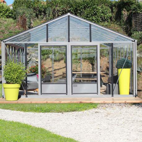 serre de jardin en verre trempe supra 38 20 m aluminium naturel