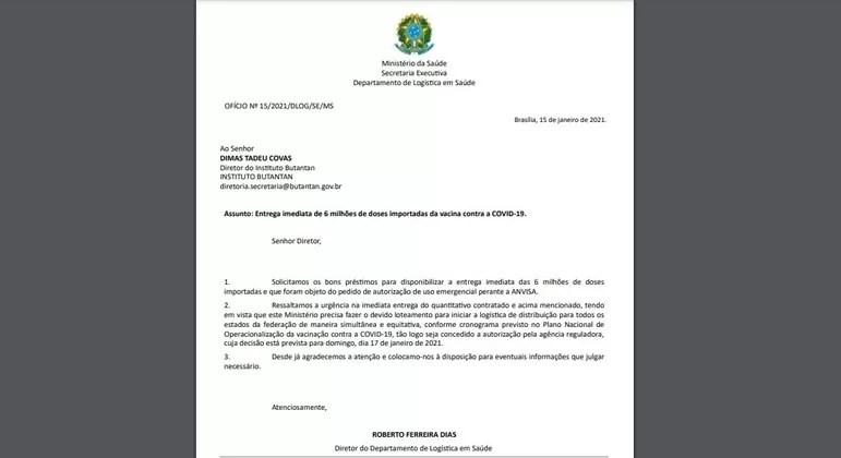 Em resposta a Butantan, ministério reitera controle total sobre vacinas
