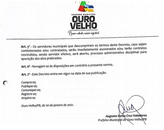 Decreto determina exoneração de 'furões' da vacina em cidade da Paraíba