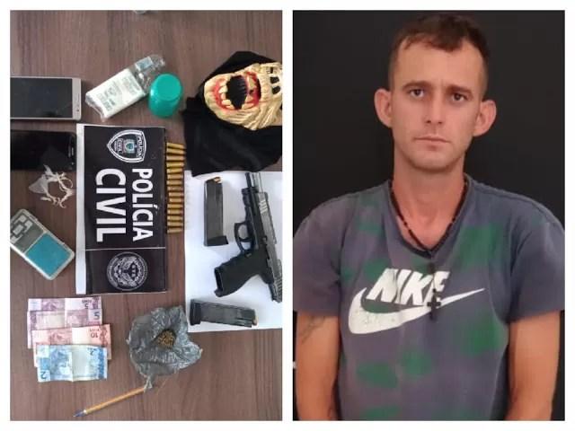 GTE de Cajazeiras apreende arma de fogo e drogas, prende homem e apreende menor, suspeitos de assaltos na região de São José de Piranhas PB