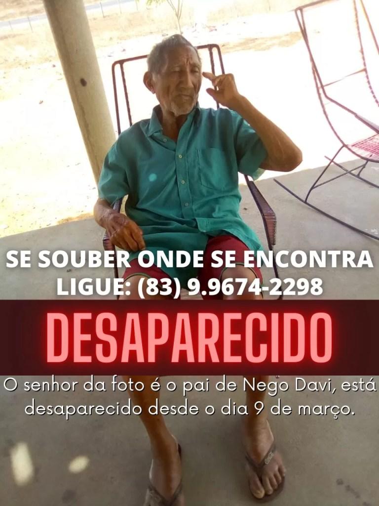 Idoso desaparece do município de Mato Grosso Pb