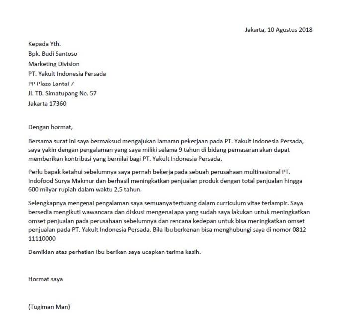 Surat Lamaran Kerja Lengkap Untuk Semua Posisi