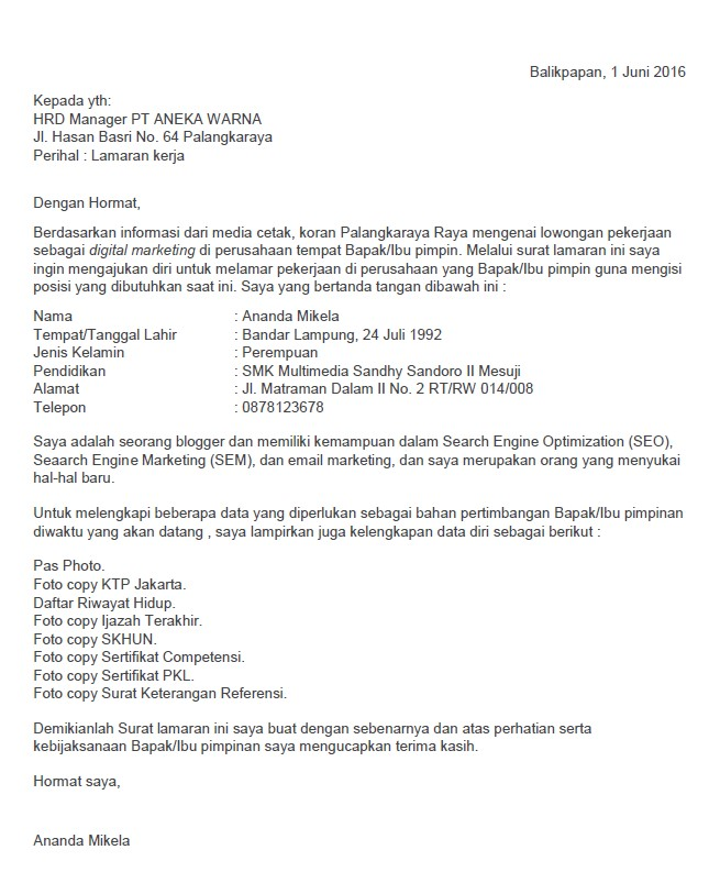 Contoh Surat Lamaran Kerja Spg Via Email