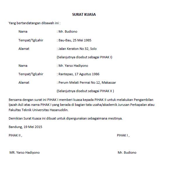 Surat Kuasa Lengkap Untuk Berbagai Keperluan Seruniid