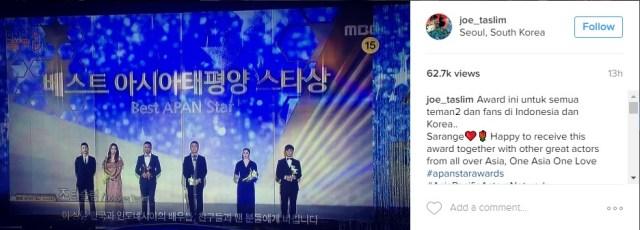 video di instagram joe taslim yang menunjukkan dirinya berada di acar APAN. gambar via: instagram