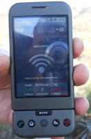 A mobile phone displaying the Serval software.