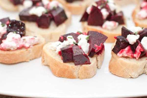 Roasted Beets and Feta Crostini