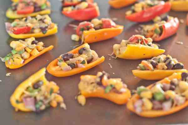 mini sweet pepper nachos