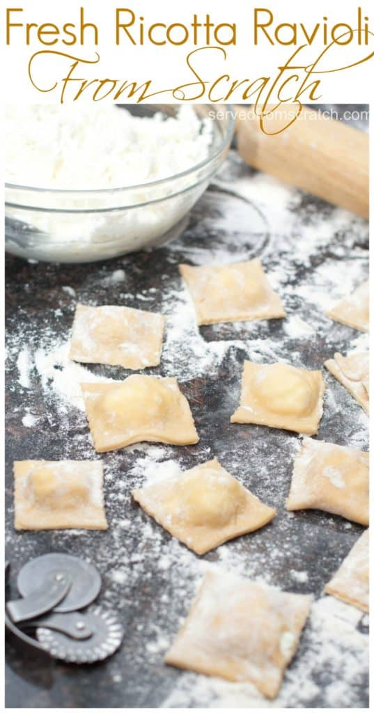 Fresh homemade ricotta cheese inside fresh rolled pasta for the most delicious Fresh Ricotta Ravioli you'll ever eat