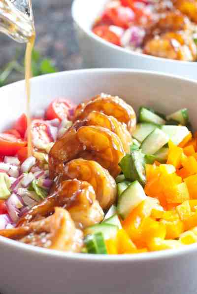 Bring on Summer with this Teriyaki Shrimp Salad with Sesame Ginger Vinaigrette. It's easy, fresh, healthy, and full of color!