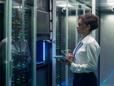 Employee collecting data center data